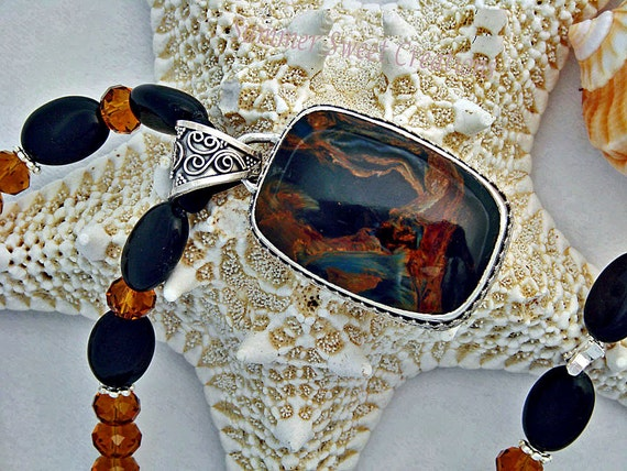 Pietersite and Silver Pendant with Black Onyx and Dark Cafe' Crystal Necklace