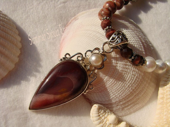 Pearl, Jasper, Red Tiger Eye and Silver Necklace Set with Mookaite Pendant