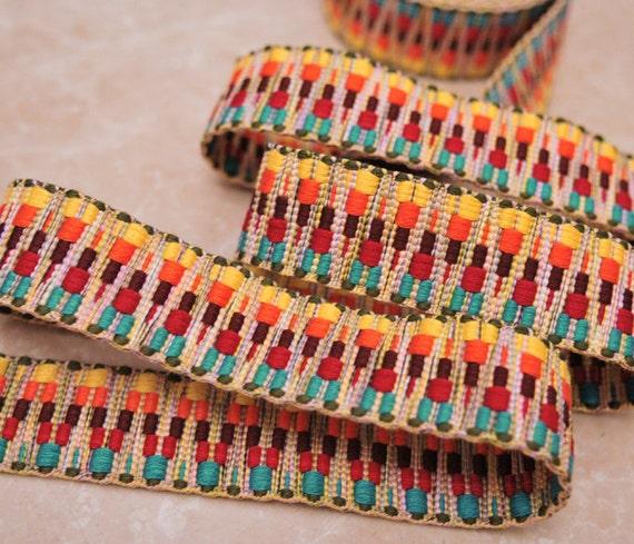 Jacquard Trim Ribbon Woven Thick Band Multi Color- 3 Yard
