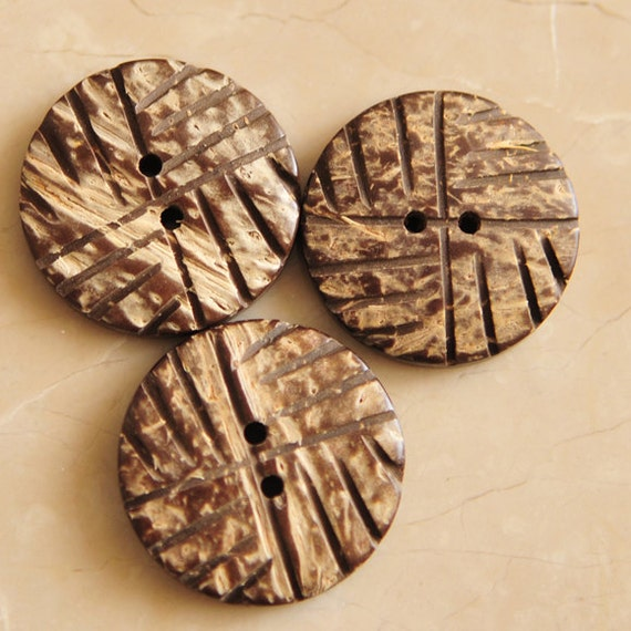 Large Coconut Shell Buttons Natural Round Artistic Lines (3 pieces)