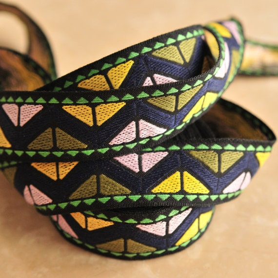 Jacquard Trim Ribbon Simple Modern Ethnic Tribal Inspired Navy- 2.8 Yards