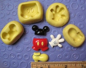 MICKEY mouse MOLD set glove shorts hand ears foot silicone for fondant clay cake decorations soap wax or polymer clay hard mold for clays