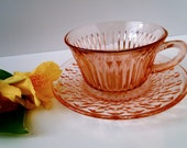 Pink Depression Glass - Cup and Saucer Buttons and Bows