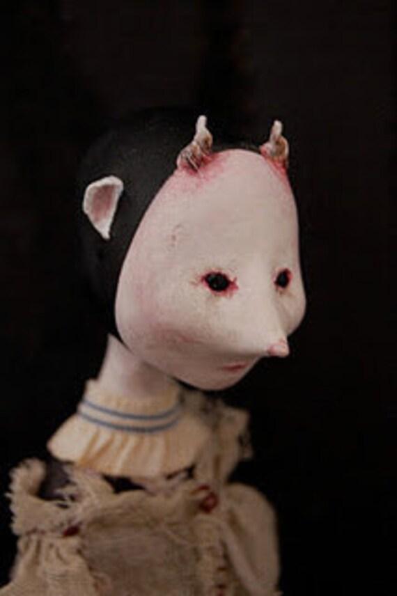 A Dark Valentine - Sweet Magda Fair  OOAK Paper Clay Art Doll ADE