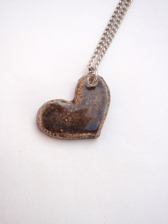 50% OFF SALE - Polished Armor Heart Ceramic Pendant on Silver Chain
