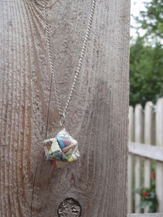Modular Paper Origami Ball Necklace in Comic Strips