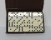 Vintage Dominoes in Case, Black Dots, Fred Roberts, Bakelite, Plastic, Composite