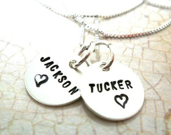 Mommy Necklace - Two Sterling Silver Discs - Kids' names - Gift for Mom - Mother's Day