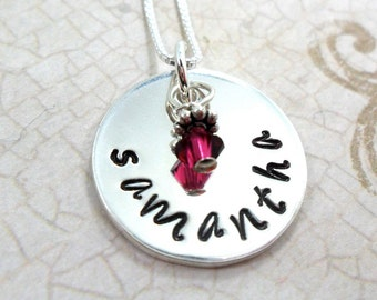 Name Necklace for Mom | Name Necklace for Girl | Mommy Necklace |  Sterling Silver Name Necklace | Name Necklace with Birthstone