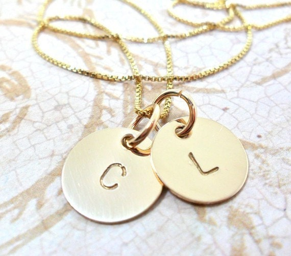 Custom Initial Necklace Two Disc Hand Stamped Gold Fill