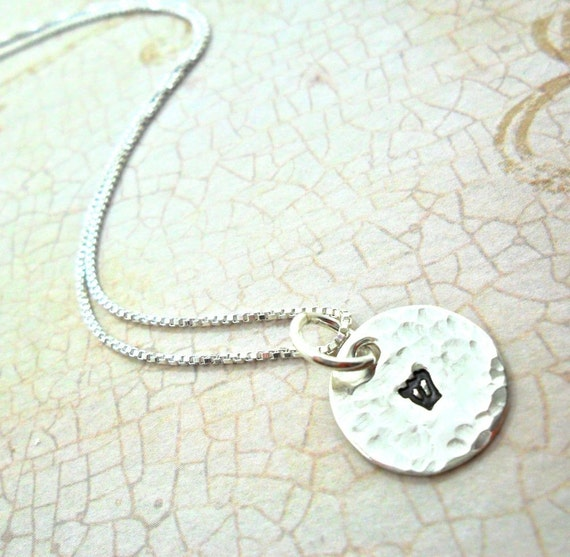 Hebrew Necklace - Hebrew Initial Necklace - Custom Judaica - Sterling Silver Disc - Hammered Disc - Hand Stamped