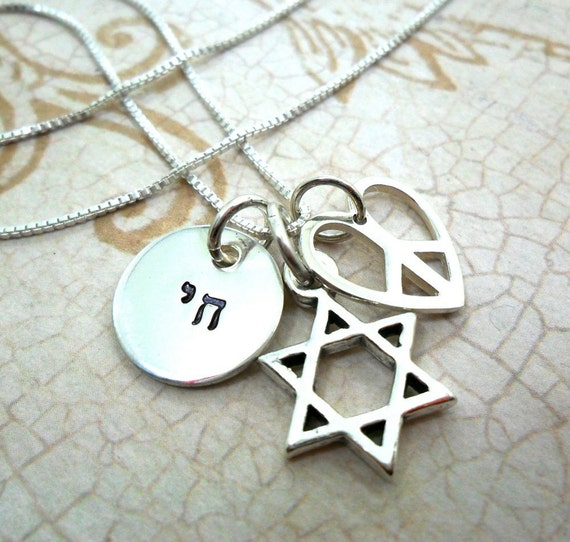Hebrew Necklace | Bat Mitzvah Gift | Jewish Girl | Star of David | Chai Pendant | Peace Sign | Heart Charm | Peace Heart | Sterling Silver