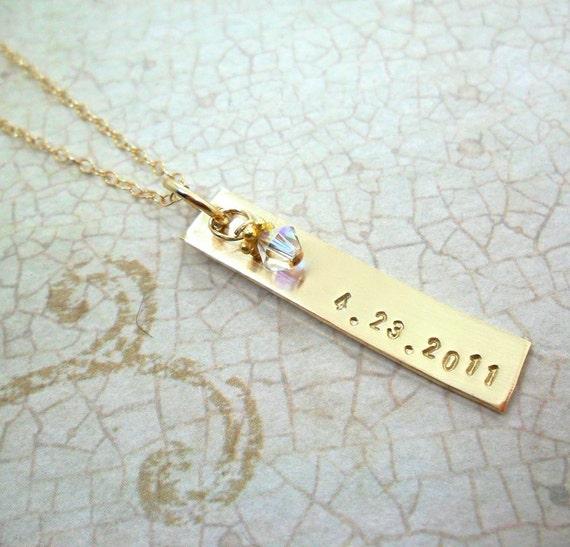 Custom Date Necklace Gold Fill Bar
