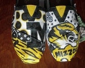 Price includes shoes. University of Missouri Tigers hand painted TOMS