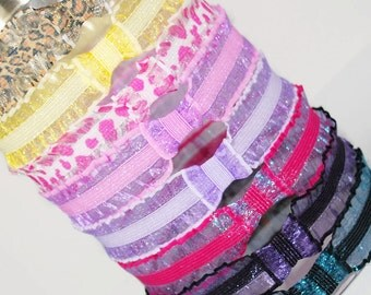 Boutique Shimmer Stretch Ruffle Headbands, Newborn, Infant, Baby, Toddler, Little Girls, Shower Gift