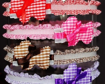 Gingham Scottie Puppy Collection - Stretch Ruffle Headbands - Dog  Hair Clips - Baby, Toddler, Little Girls - Pink, Red, Brown, Purple, Blue