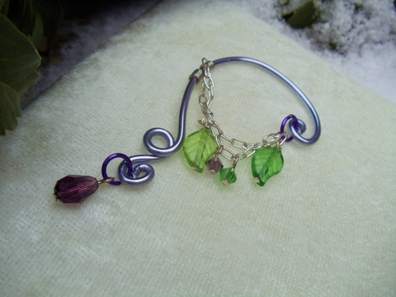 Natural Purple and Green Leaf Woodland Ear Bend
