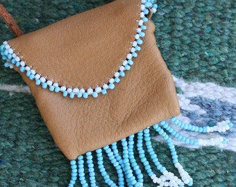 Medicine Bag Pouch - Blue and White Bead Fringe - Soft Brown Leather, beaded pouch, beadged bag, tribal necklace, leather necklace, mojo bag