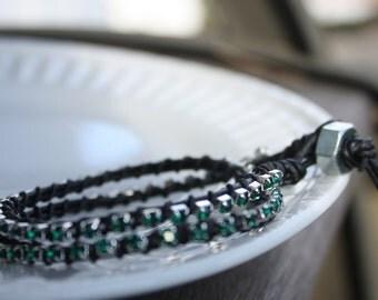 Leather Wrap Bracelet - Double Wrap Bracelet - Green Crystal Chain Wrap Bracelet - St. Patrick's Day, stacking bracelet, leather bracelet