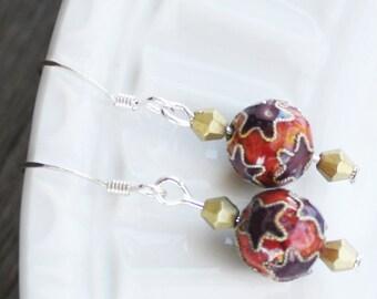 Cloisonne Earrings - Star Earrings, dainty earrings, delicate earrings, cloisonne jewelry, star jewelry, celestial earrings, everyday earrin