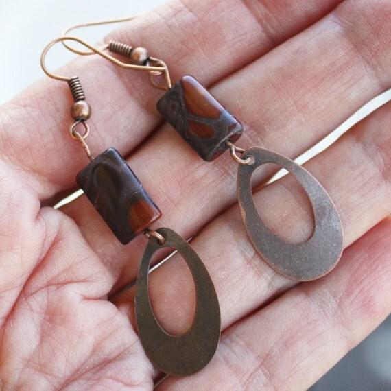 Earrings - Petrified Wood Earrings - Copper Earrings