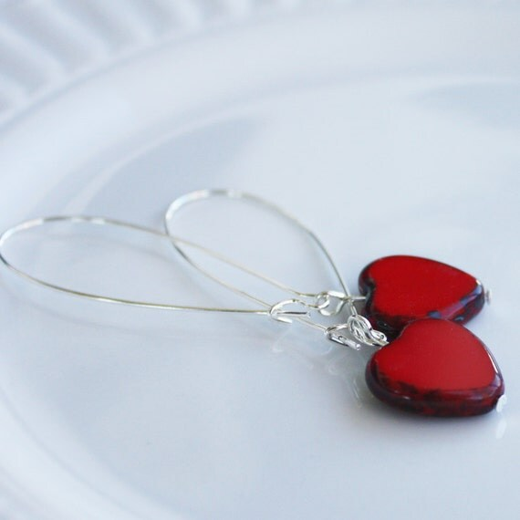 Heart Earrings - Czech Heart Earrings - Silver Plated Earrings, valentine earrings, silver earrings, valentine jewelry, heart jewelry