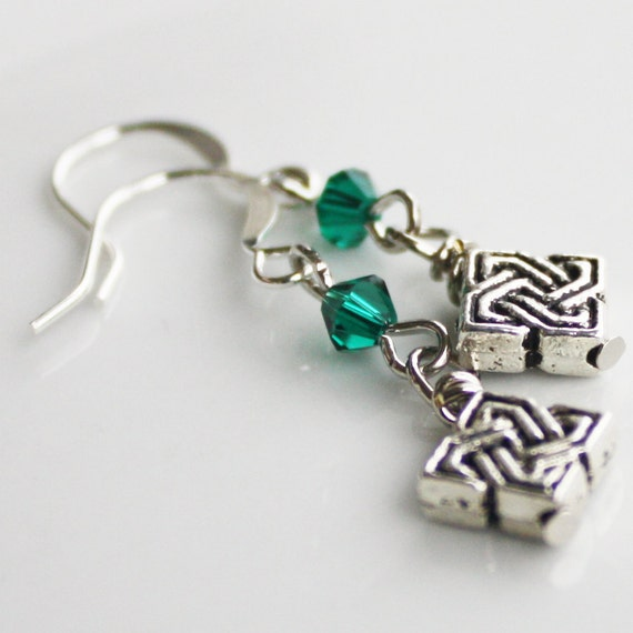 Celtic Knot Earrings - Green Crystal earrings, st. patrick's day earrings, silver earrings, irish earrings, celtic earrings, celtic jewelry