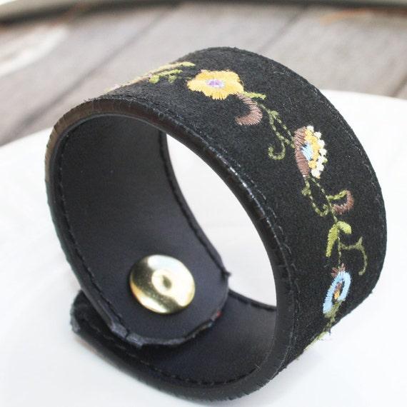 "Leather Cuff Bracelet - Reversible Upcycled Black Embroidered - 7"" - medium"