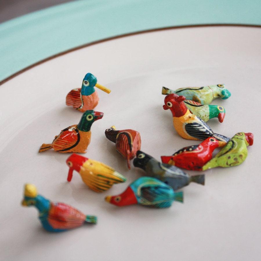 beads bird beads handpainted wooden bird beads