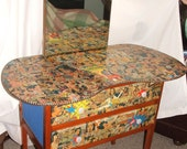WONDER WOMAN Comic Decoupage 1960s ViNtAgE Upcylced CURVED Oak Wood Dressing Table/Drawers/Dresser