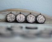 Alphabet Letter V Necklace, Black and Cream Initial V Pendant
