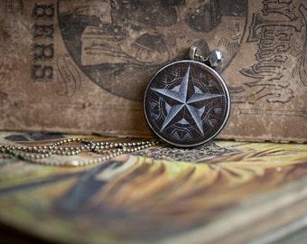 Black Star Necklace, vintage 1855 Paris illustration decoupage pendant