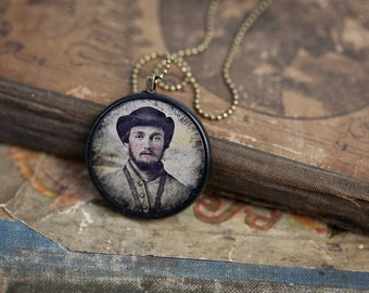 My Civil War Boyfriend - Edward - Victorian Pendant - Steampunk Necklace