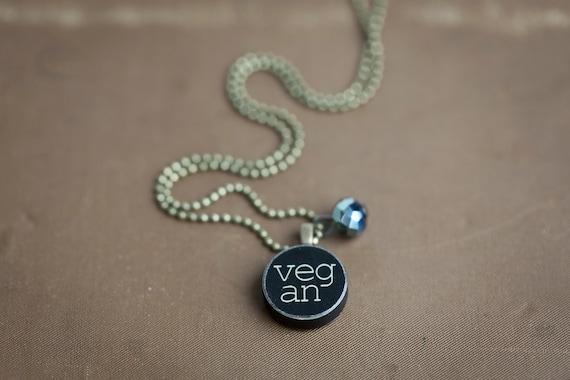 Vegan Necklace - Miniature  Pendant - Vintage Typewriter Key Inspiration