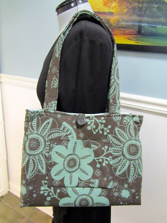 Over the top Organized Purse with tons of pockets. Slate Teal Turquoise floral mod