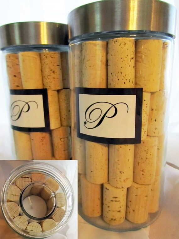 Wine Cork Candles with lids Set of 2