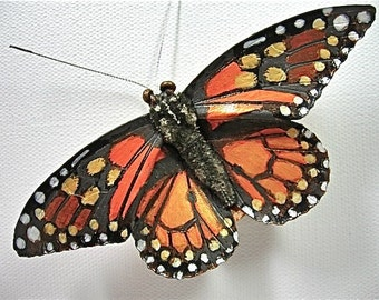 Leather Monarch Butterfly Brooch