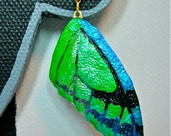Green Leather Butterfly Wing Earrings