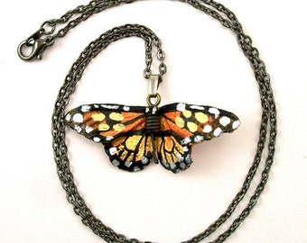 Leather Monarch Butterfly Necklace on  gunmetal finish chain