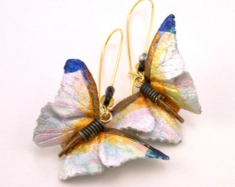 White Butterfly Leather  Earrings
