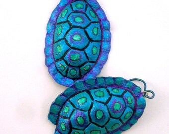 Leather  Turtleshell Earrings in Turquoise