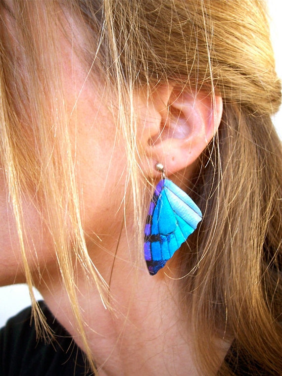 Leather Butterfly Wing Earrings in Blue