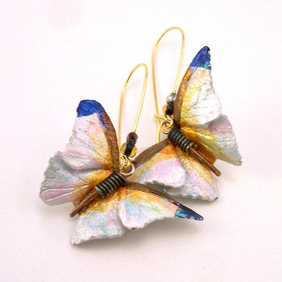 White Butterfly Leather  Earrings