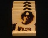 John Lennon / Beatles Coasters, Branded - Solid Pine Wood