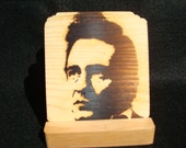 Johnny Cash Coasters, Branded - Solid Pine Wood
