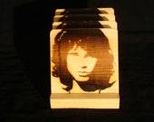 Jim Morrison Coasters, Doors, Branded - Solid Pine Wood