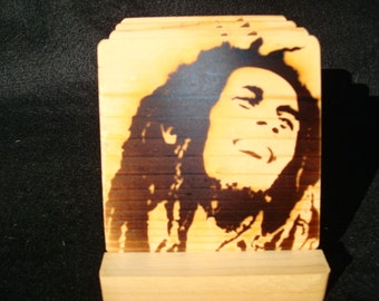 Bob Marley Coasters, Burned Image -If Desired Mix and Match 4 different designs       See Gomez Carvings Shop and add a note