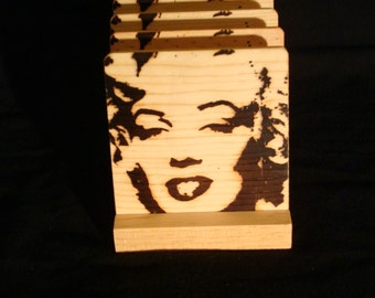Marilyn Monroe Coasters, Burned Image -If Desired Mix and Match 4 different designs       See Gomez Carvings Shop and add a note