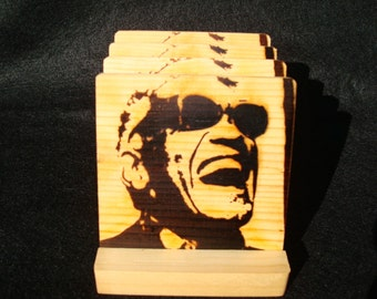 Ray Charles Coasters, Burned Image -If Desired Mix and Match 4 different designs       See Gomez Carvings Shop and add a note