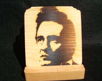 Johnny Cash Coasters,Burned Image -If Desired Mix and Match 4 different designs       See Gomez Carvings Shop and add a note